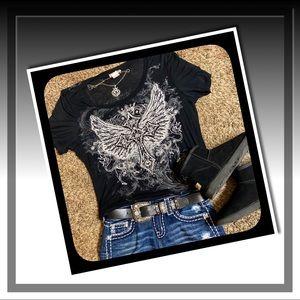 EUC Black Cross With Wings Super Soft Burnout T🖤